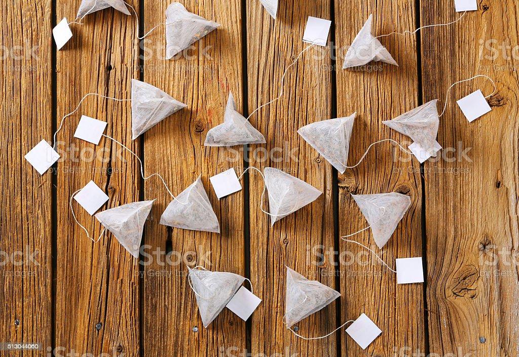 Pyramid tea bags stock photo