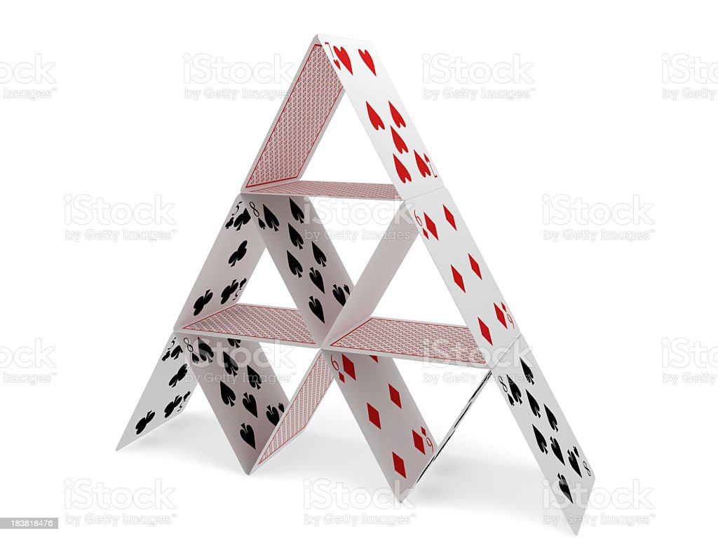 Pyramid with Playing Cards stock photo
