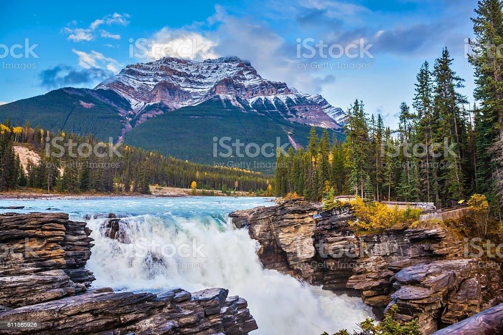 Pyramidal mountain and waterfall Athabasca stock photo