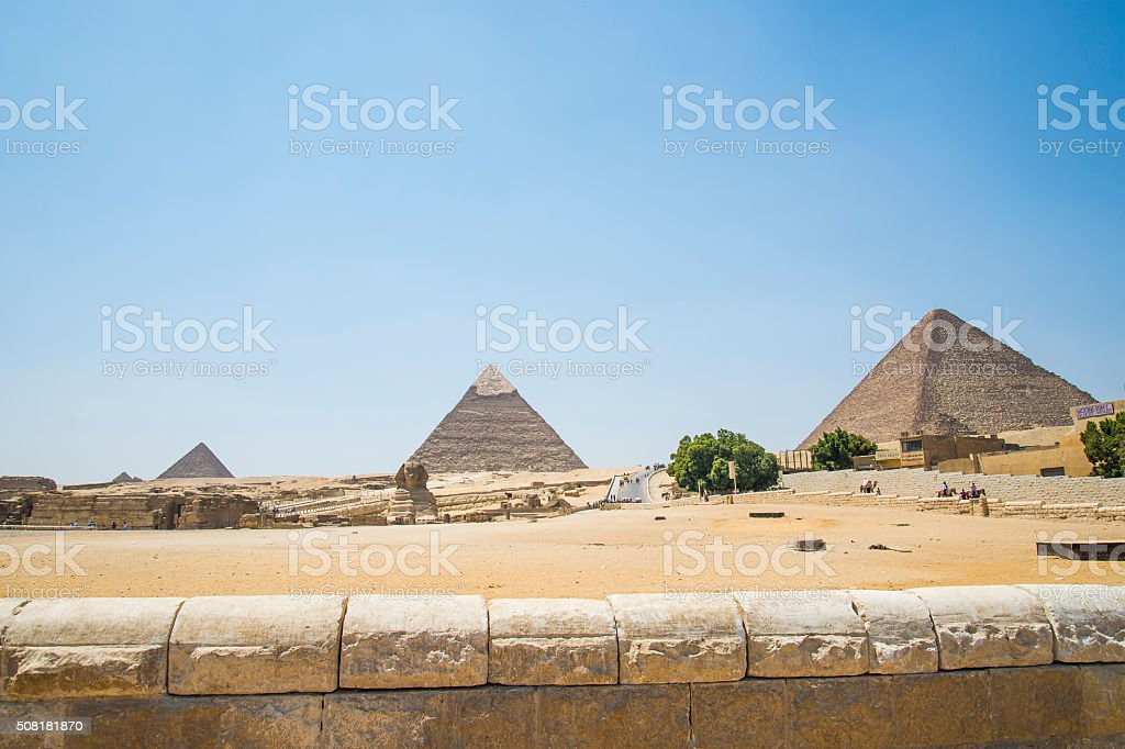 Pyramids and sphinx stock photo