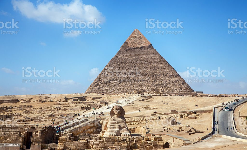 Pyramids and the Sphinx in Cairo stock photo