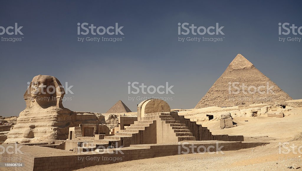 Pyramids and the sphinx stock photo