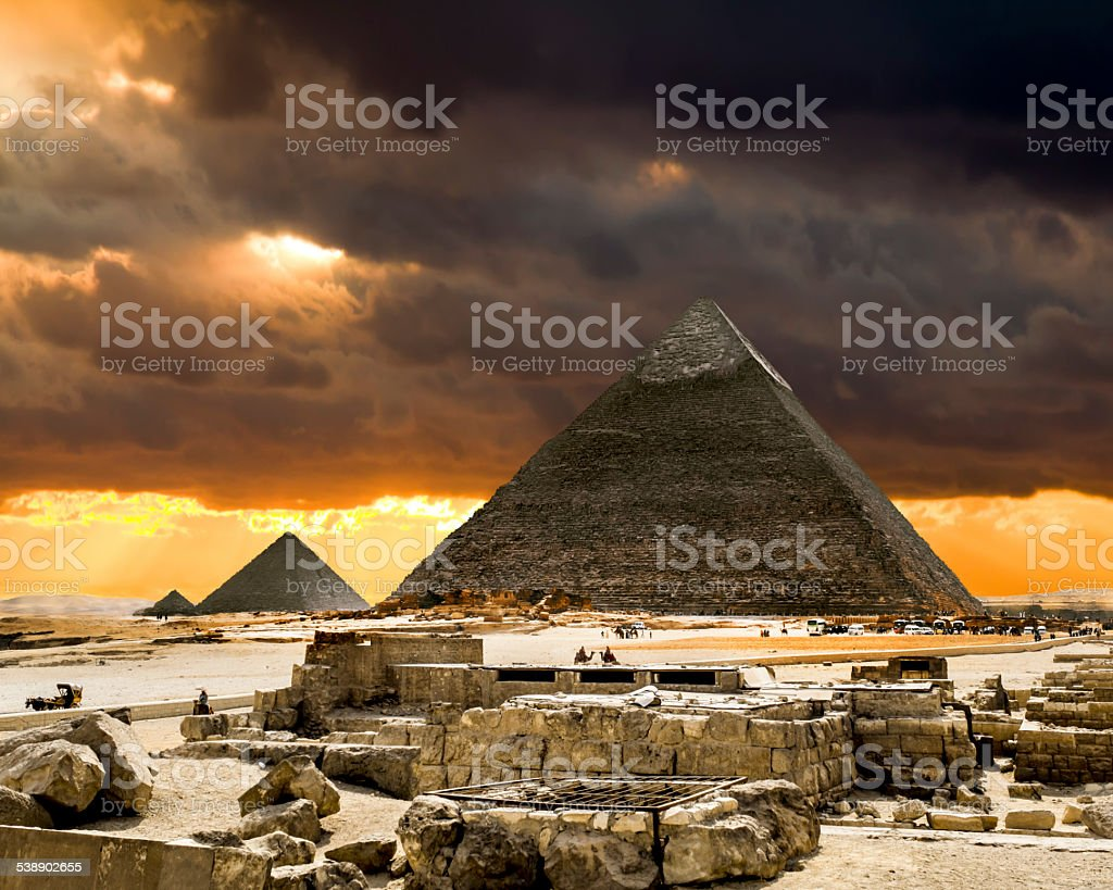 Pyramids at Giza on the background of the Sunset stock photo