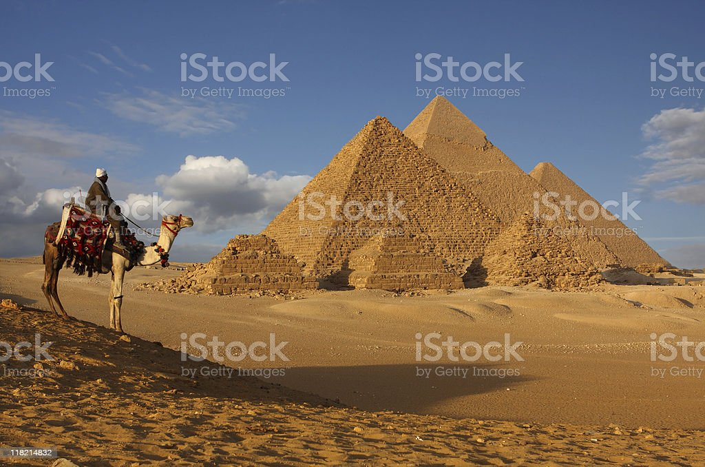 pyramids bedouin stock photo