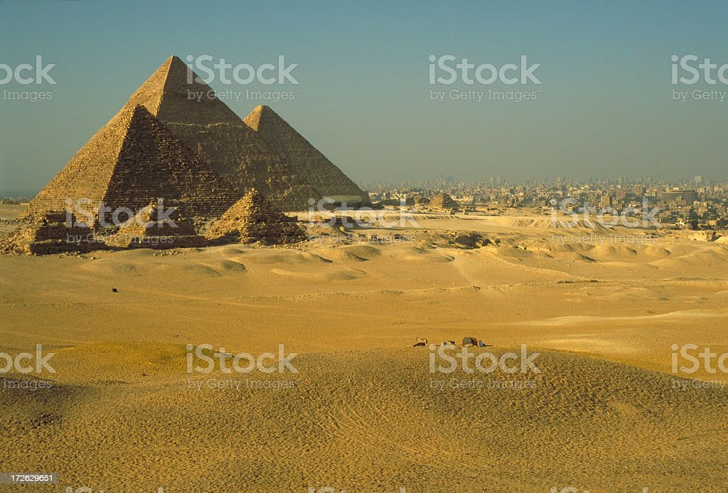 Pyramids & Cairo stock photo