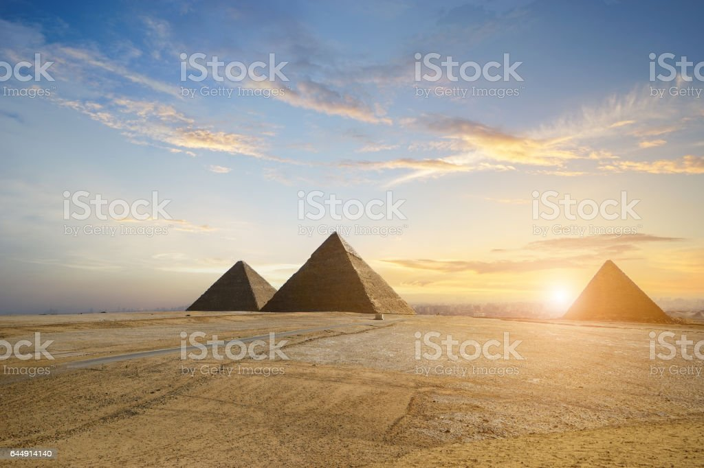 pyramids  in Cairo, Egypt stock photo