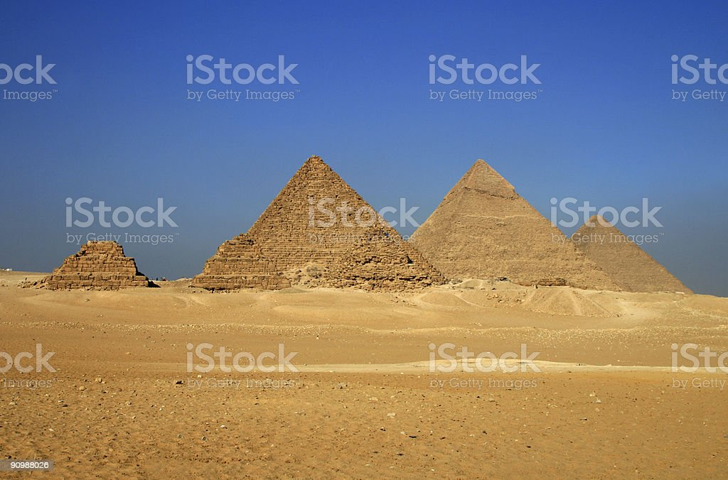 Pyramids in Giza in the desert stock photo