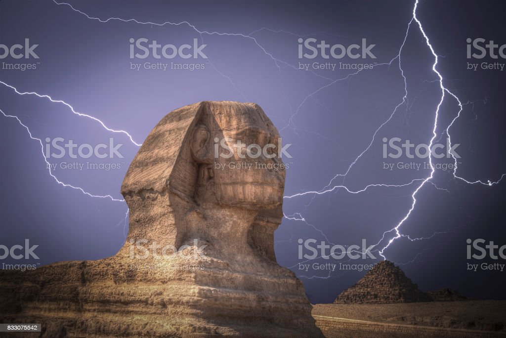 pyramids in Giza. Powerful lightning strike. stock photo