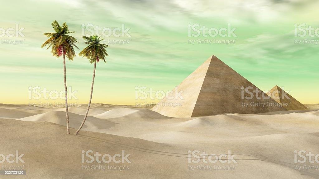 pyramids in the desert stock photo