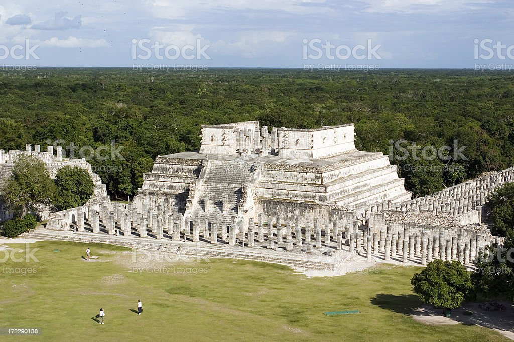 Pyramids of Chichen Itza from the Great Pyramid stock photo