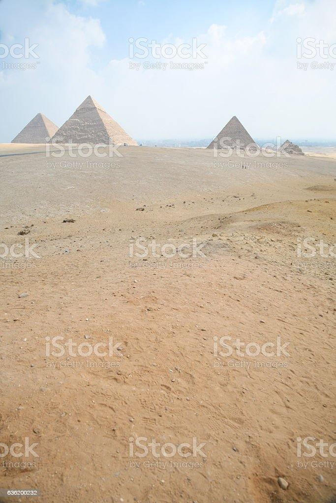 pyramids of Giza at Cairo Egypt vertical stock photo