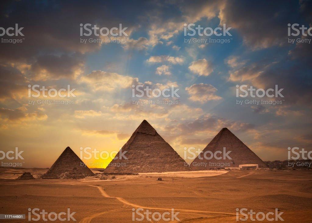 Pyramids of Giza at Sunset royalty-free stock photo