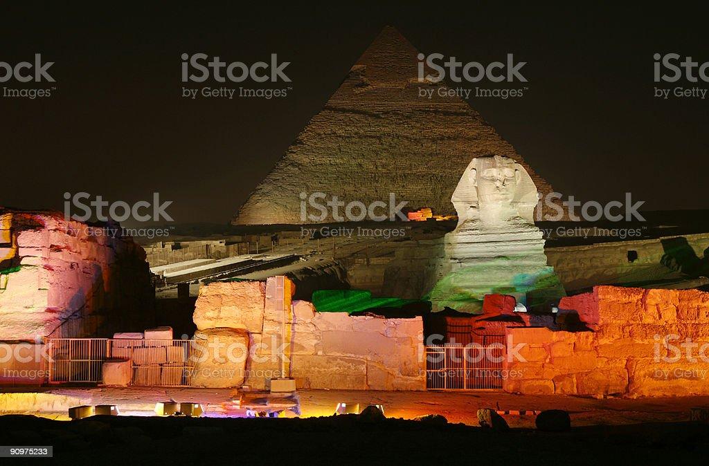 Pyramids of Giza in Cairo, Egypt at night royalty-free stock photo