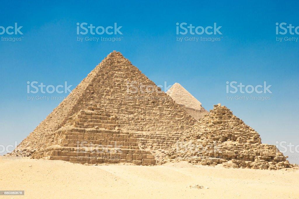 pyramids of Giza in Cairo, Egypt. stock photo