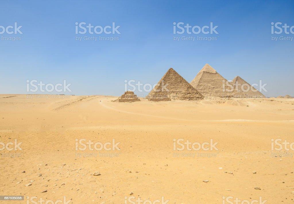 pyramids of Giza in Cairo stock photo