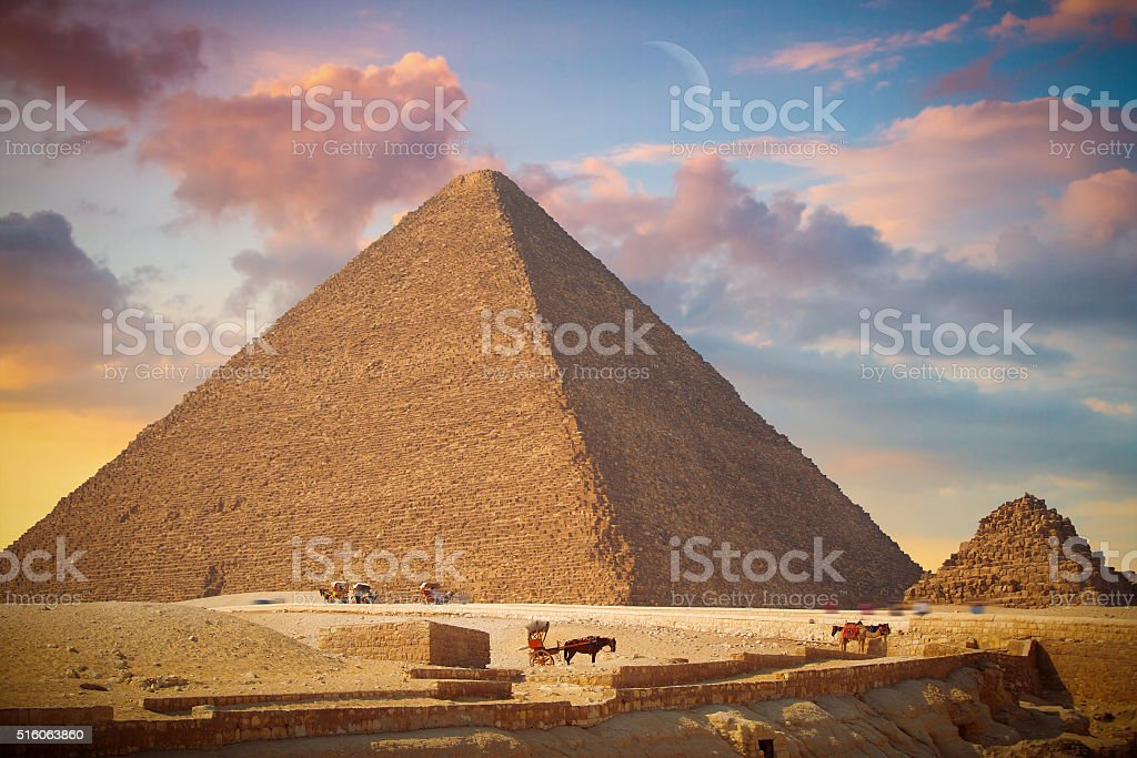 pyramids of Giza, in Egypt. stock photo