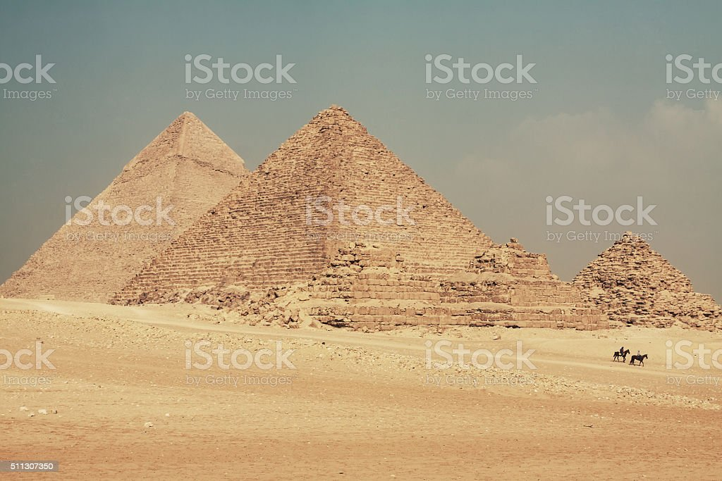 Pyramids of Giza stock photo