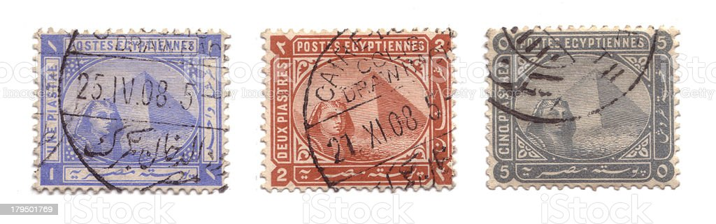Pyramids of Giza postage stamps royalty-free stock photo