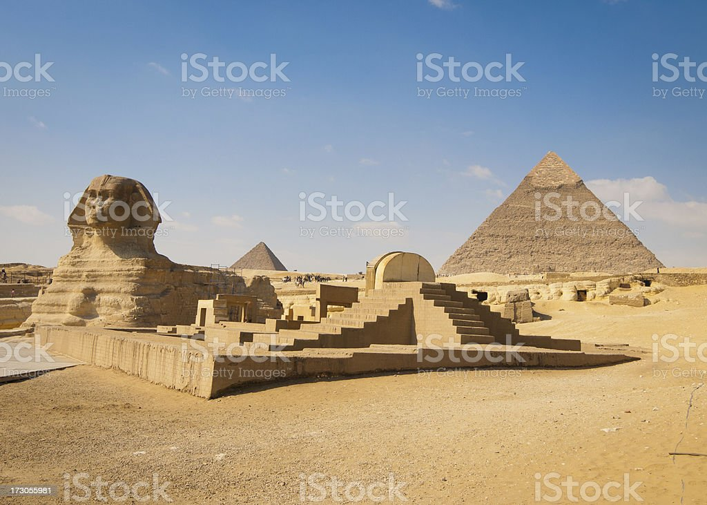 Pyramids of Giza with Sphinx in Foreground stock photo