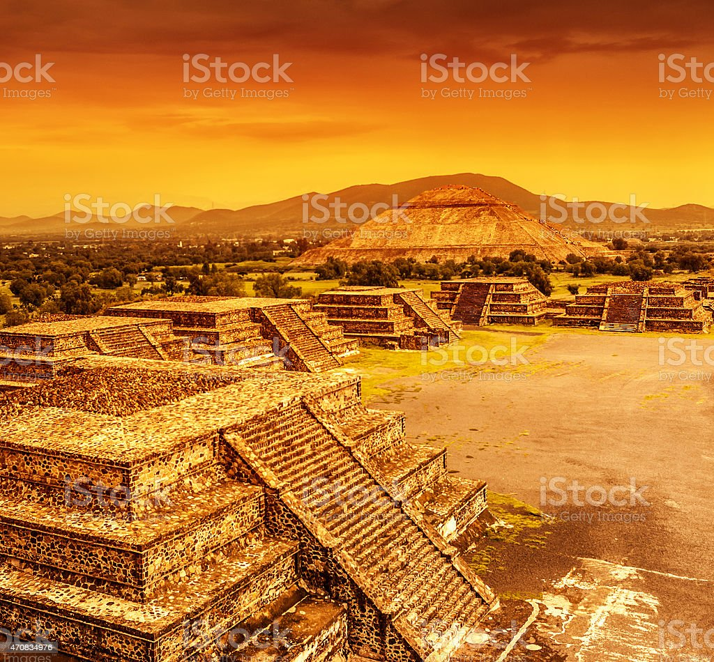 Pyramids of Mexico over sunset stock photo