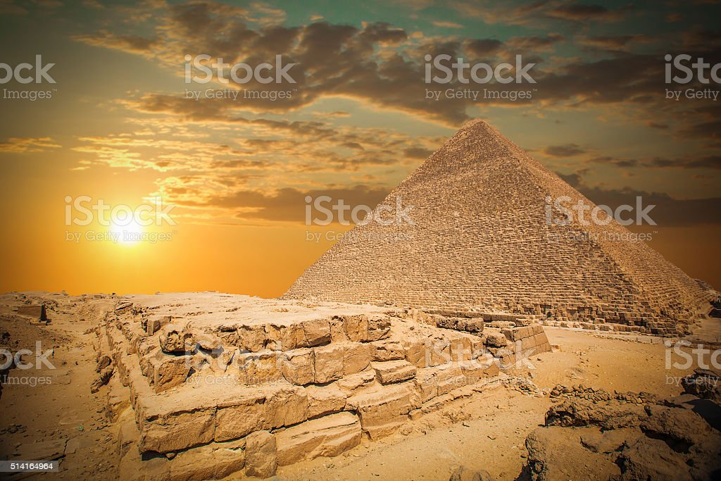 pyramids of the pharaohs in Giza stock photo