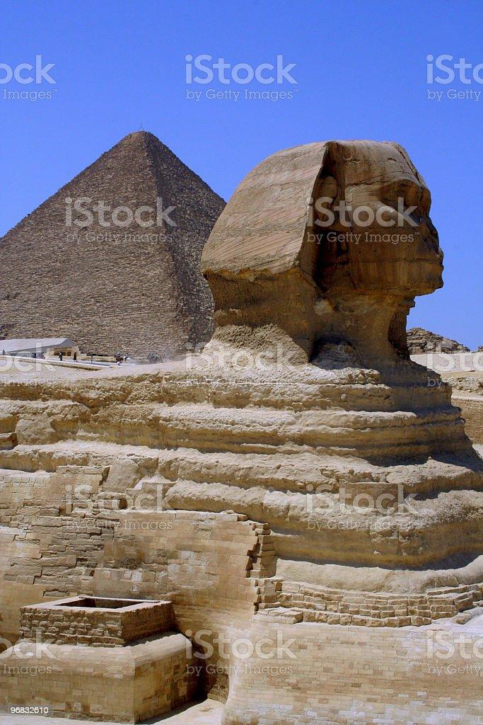 Pyramids & Sphinx of giza royalty-free stock photo