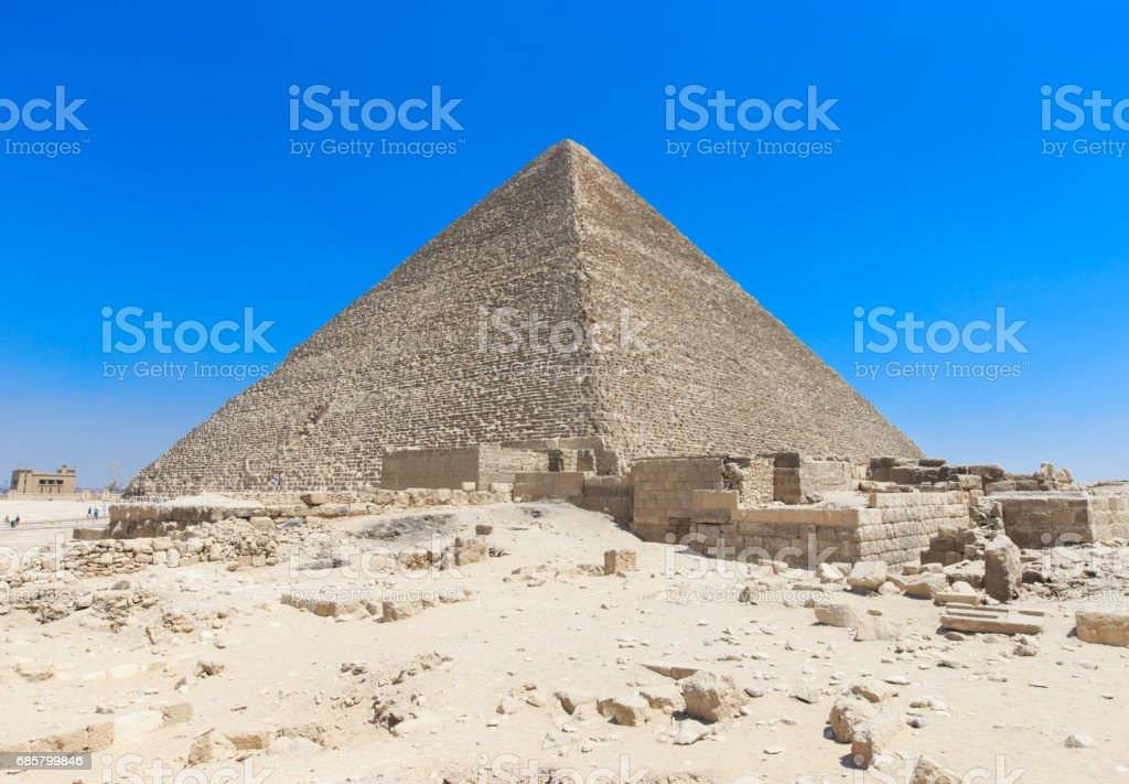pyramids with a beautiful sky of Giza in Cairo, Egypt. stock photo
