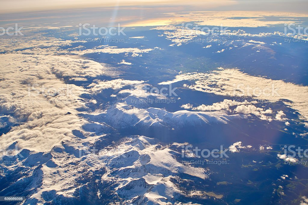 Pyrenees from the airplane stock photo
