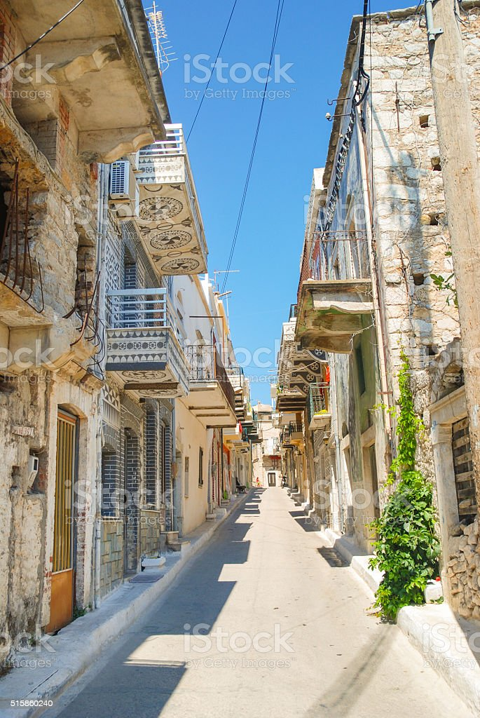 Pyrgi street on Chios, Greece stock photo