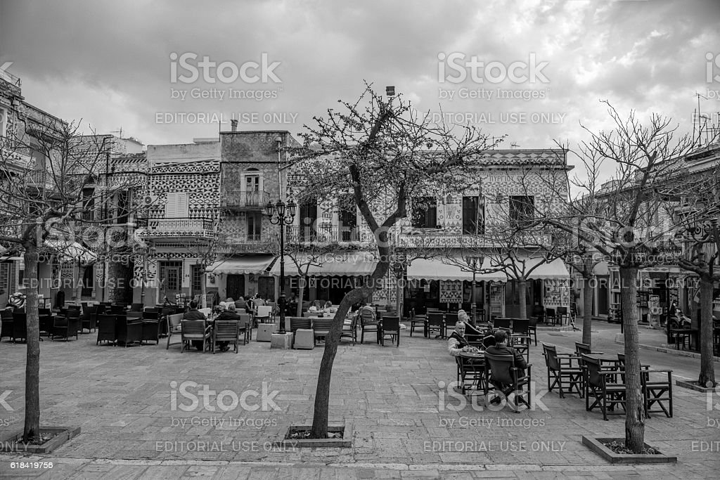 Pyrgi village on Greek Island of Chios stock photo