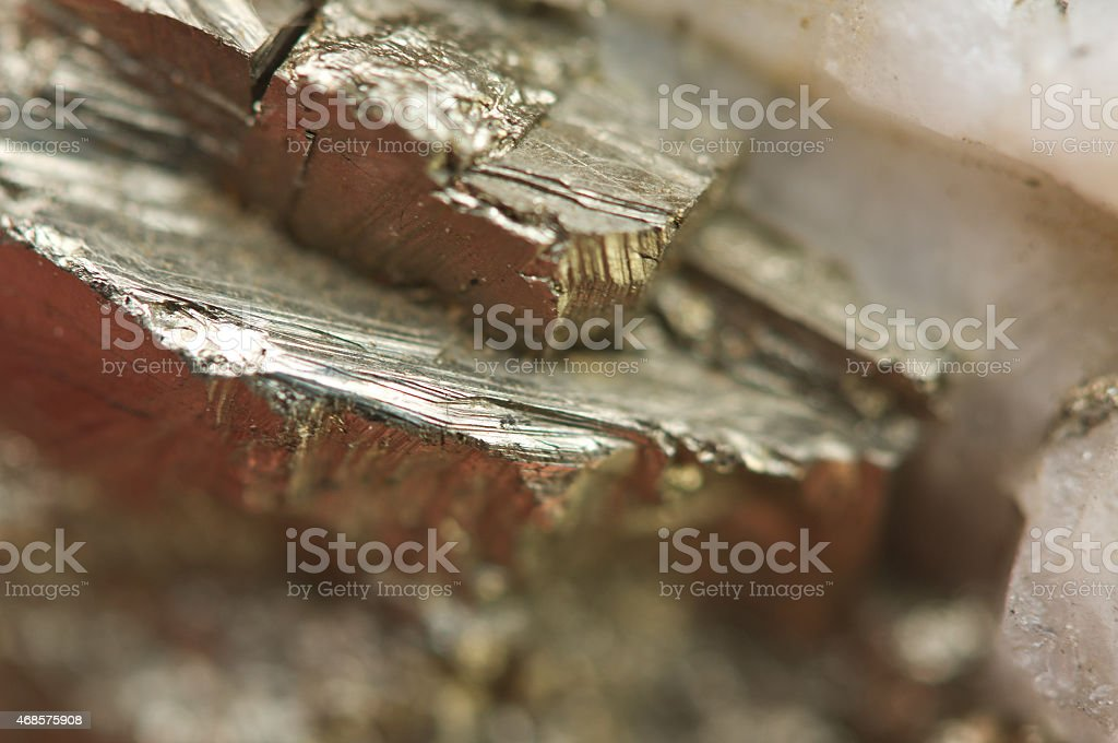 pyrite, is an iron sulfide with the chemical formula FeS2 stock photo