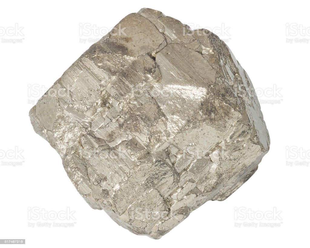 Pyrite mineral crystall macro isolated on white stock photo