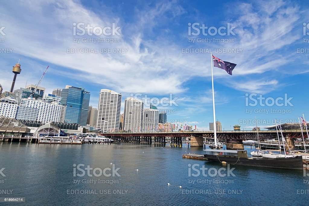 Pyrmont Bridge and Cockle Bay in Darling Harbour, Sydney stock photo