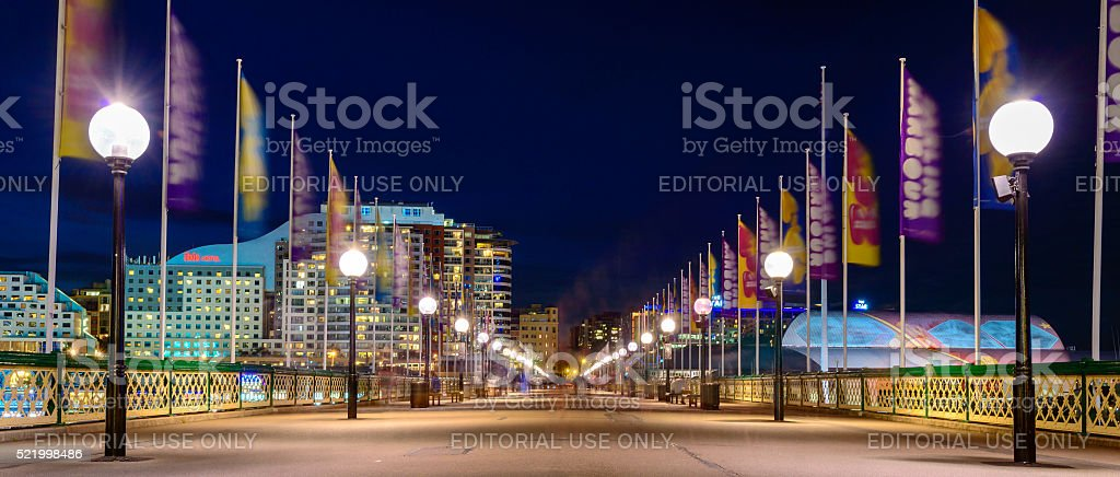 Pyrmont bridge at night stock photo