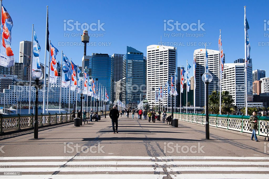 Pyrmont Bridge, Sydney, Darling Harbour stock photo