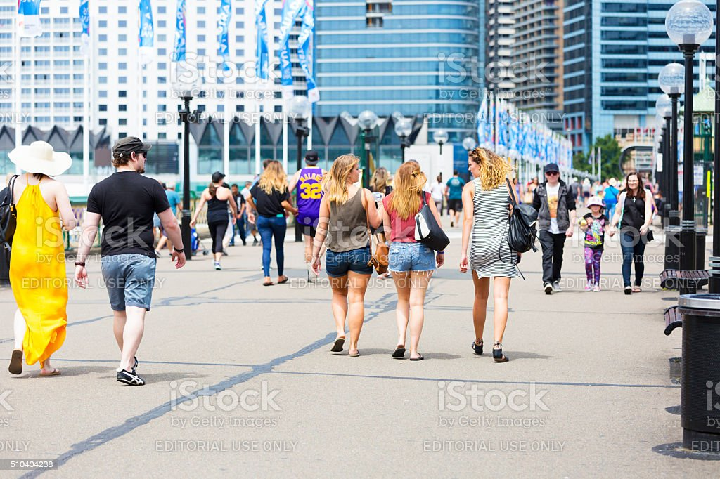 Pyrmont Bridge with crowd of tourist and sightseers, Sydney Australia stock photo