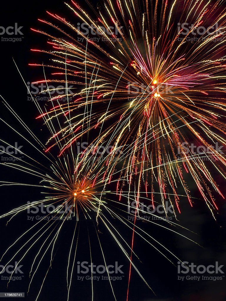 Pyrotechnic Display in the Night Sky stock photo