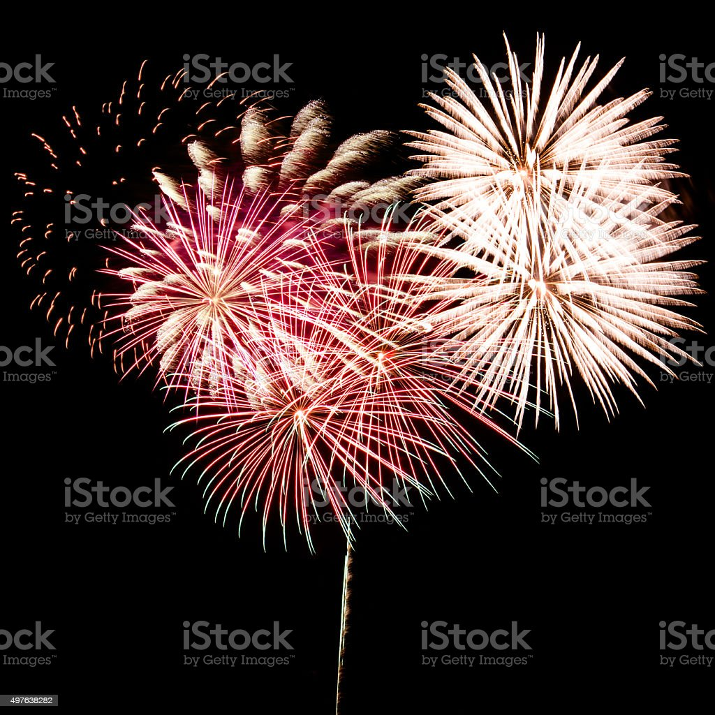 pyrotechnics fireworks on black background stock photo