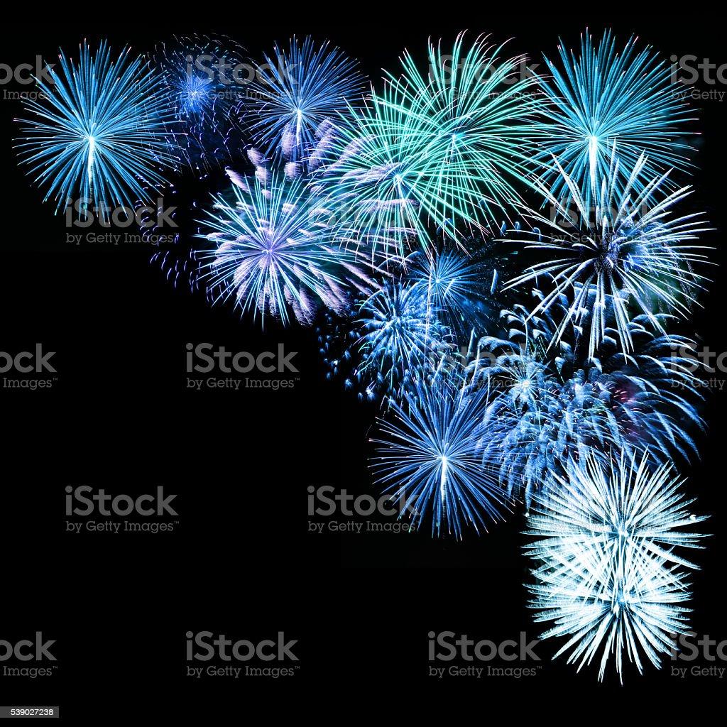 pyrotechnics fireworks on black background stock photo