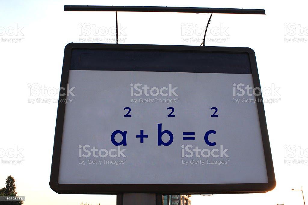 Pythagoras 's theorem on a billboard stock photo
