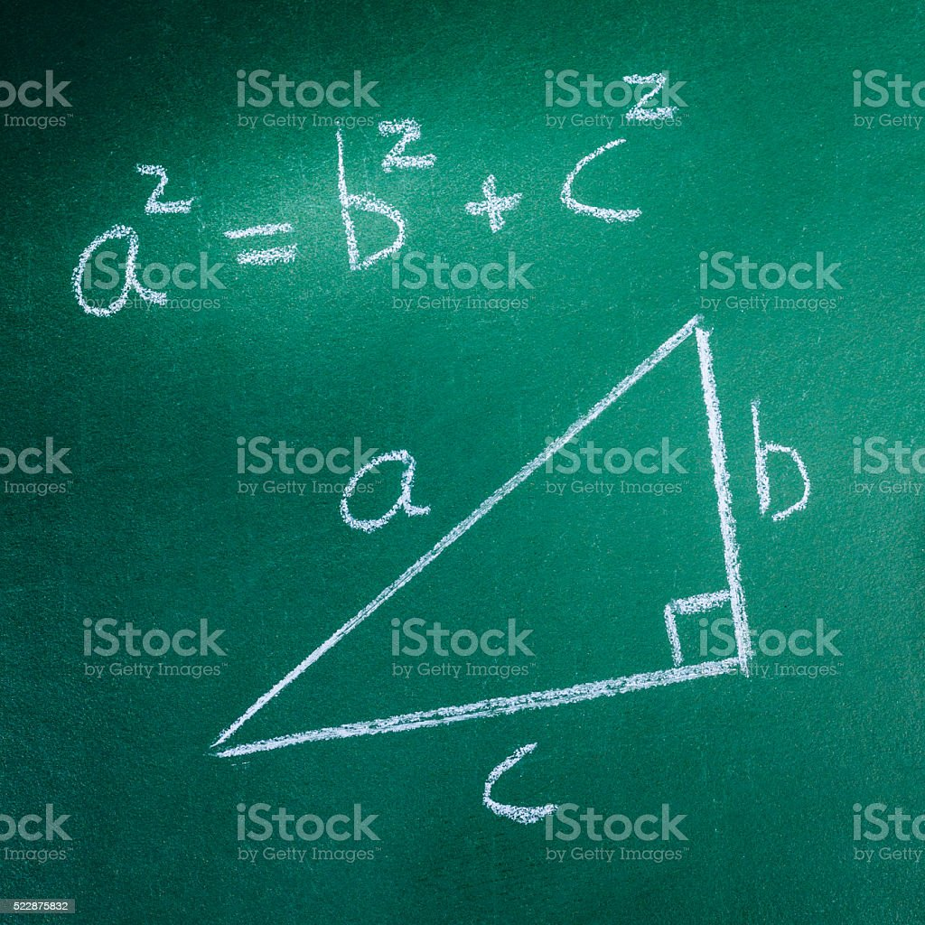 Pythagoras Theorem on greenboard stock photo