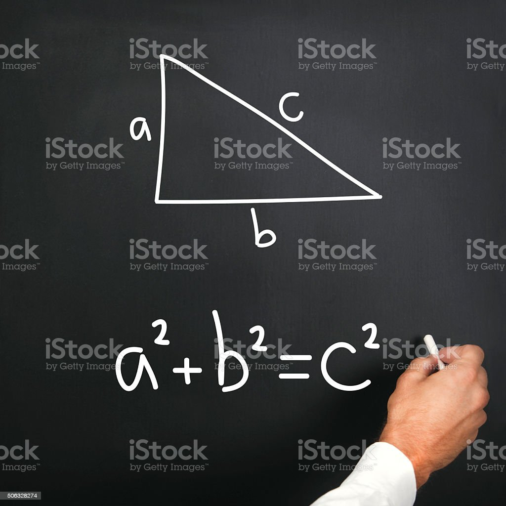 Pythagorean theorem on blackboard stock photo