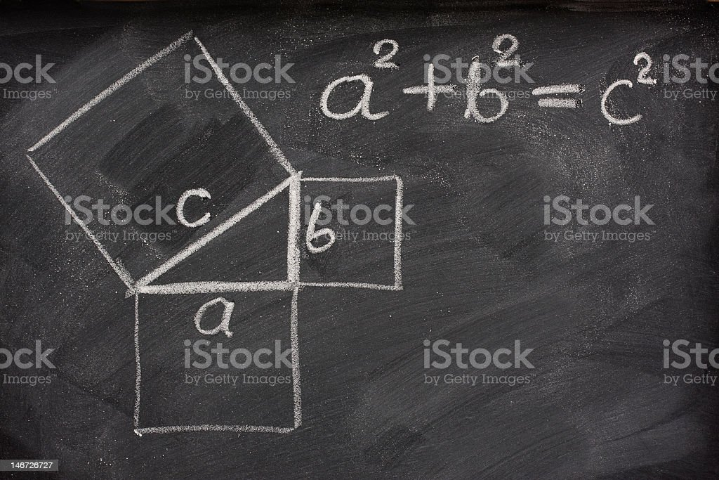 Pythagorean theorem on chalkboard stock photo