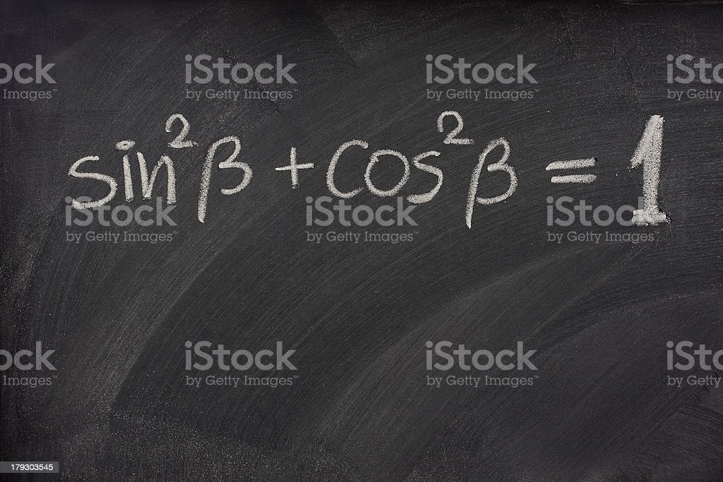 Pythagorean trigonometric identity on a blackboard stock photo