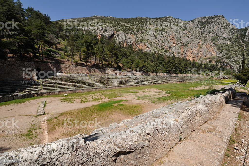 Pythian stadium Delphi stock photo