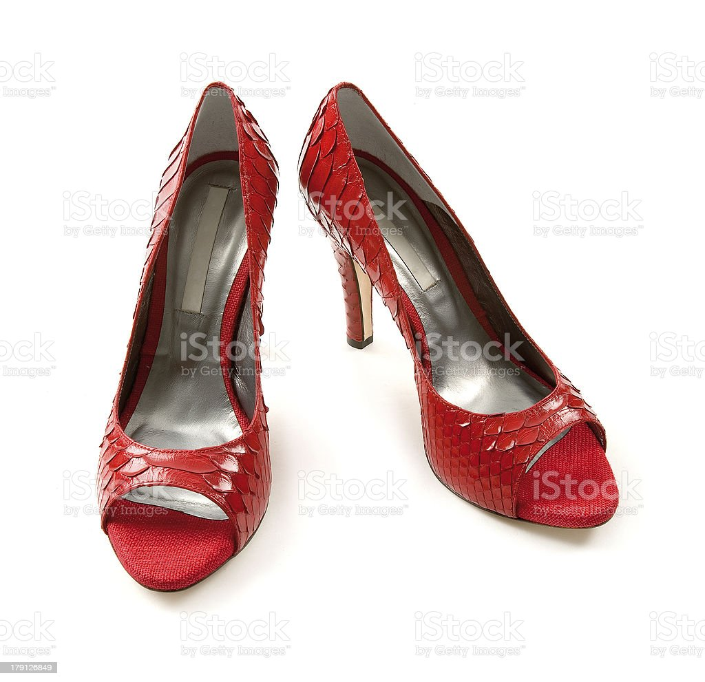 Python scales red peep toe stilettos royalty-free stock photo