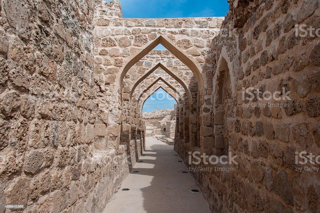 Qal'At Al Bahrain Fort, Island of Bahrain stock photo