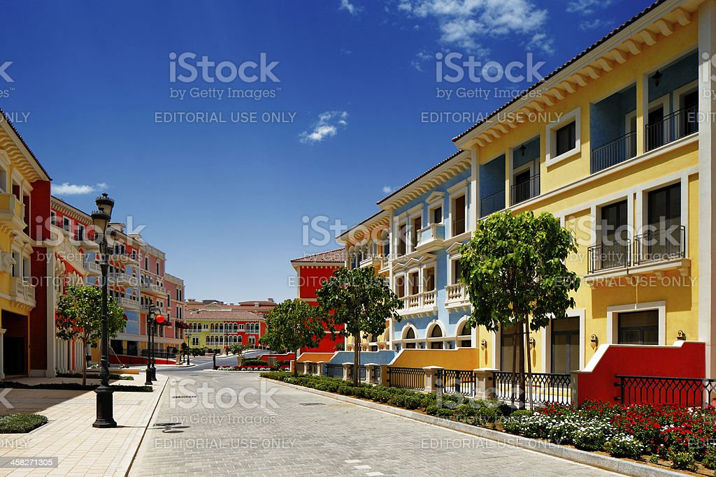 Qanat Quartier island in Doha, Qatar stock photo