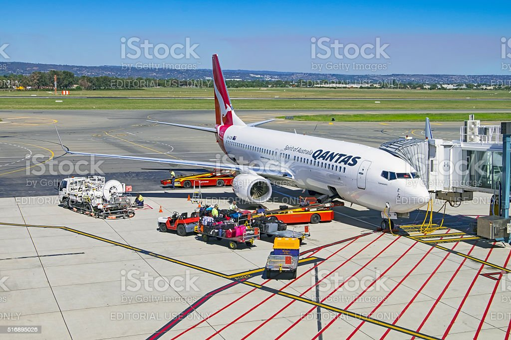 "Qantas 737-800 aircraft ""Coonawarra"" being prepared for next flight stock photo"