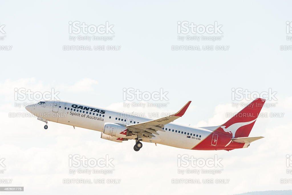 Qantas Austrália passageiro avião decolando foto royalty-free